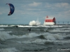Grand Haven Kiteboarding with Pier